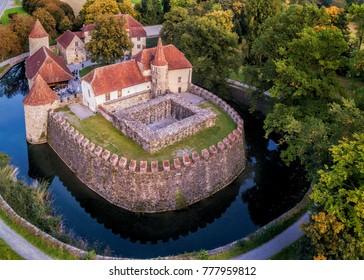 The 13th century castle Wasserschloss Hallwyl in Aargau, Switzerland