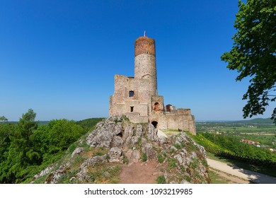 13th century Checiny Castle, ruins of medieval stronghold, Checiny, Poland