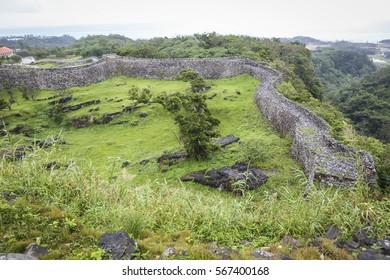 13th century Nakijin castle ruins located in northern Okinawa