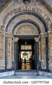13th century portal of the St. Lawrence cathedral in Trogir, Croatia, carved by the local architect and sculptor Master Radovan, one of the most monumental pieces of the Dalmatian medieval art.
