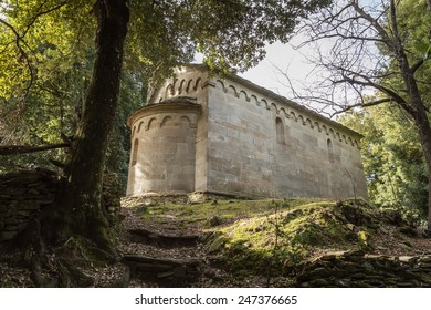 13th century stone chapel at San Quilico in central Corsica