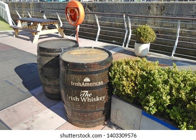 13th May 2019, Dublin, Ireland. Irish American, The Irish Whiskey barrels. on a boat in the River Liffey, Dublin, Ireland.