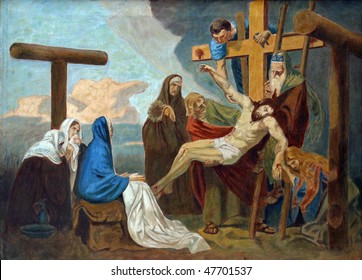 13th Station of the Cross, Jesus' body is removed from the cross