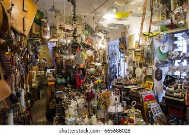 14. April 2017. Praha - View inside of a traditonal Antiques Shop.