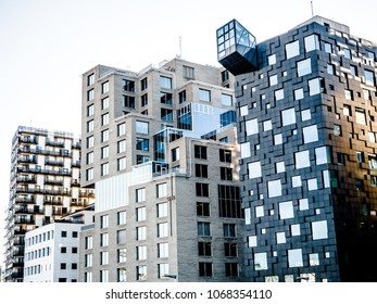 14 April 2018, Oslo Norway, Beautiful different modern buildings, bridge from Oslo's Barcode district rises from the fjord like an urban and super trendy in Norway.