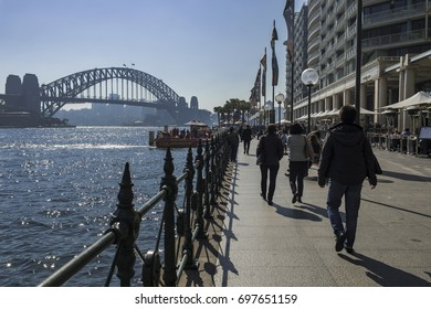 14 AUG 2017 - SYDNEY, AUSTRALIA - Sydney Harbour Bridge as seen around the Circular Quay area, a busy destination for locals and tourists alike
