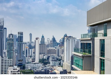 14 February, 2018: Blue sky and city buildings in Bangkok Thailand