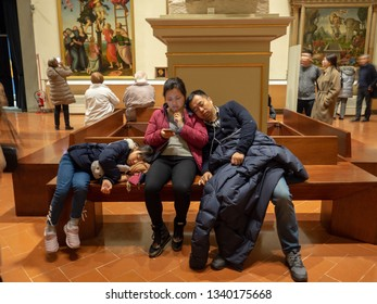 14 February 2019, Florence, Italy. Tired tourists sleep in a museum in Florence,