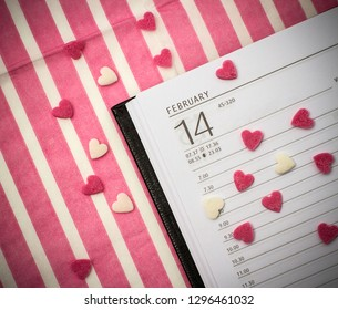14 february valentines day on calendar, top view