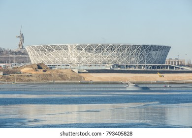 14 January, 2018, Volgograd, Russia. View of the construction site of the football stadium building for the FIFA World Cup 2018 from the Volga river side, winter look.