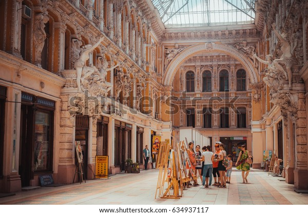 14 July 2016 - Odessa, Ukraine. Courtyard passage in Odessa. Historical and architecture of the late XIX - XX century. Located at the intersection of the Transfiguration and Deribasovskaya street.