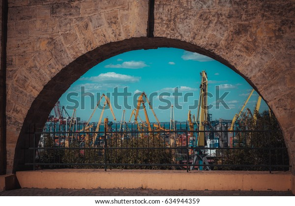 14 July 2016 - Odessa, Ukraine.View of the modern port of the old fortress.
