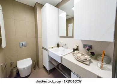 14 july 2019, İstanbul, Turkey: Small clean bathroom.