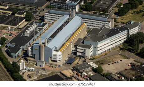 14 June 2017, Nijmegen, Netherlands. Aerial shot of factory of NXP Semiconductors. The company has been taken over by American company Qualcomm and is now world's no. 4 producer of chips.