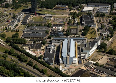 14 June 2017, Nijmegen, Netherlands. Aerial view of factory of NXP Semiconductors. The company has been taken over by American company Qualcomm and is now world's no. 4 producer of chips.