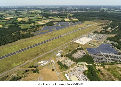 14 june 2017, Weeze, Germany. Aerial view of FLUGHAFEN NIEDERRHEIN WEEZE AIRPORT. The airport makes use of huge solar parks to fulfill in it's own energy usage.