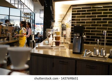 14 June 2019; Nonthaburi Thailand: Starbucks Cafe Interior at Starbucks Reserve Cafe Coffee Shop.