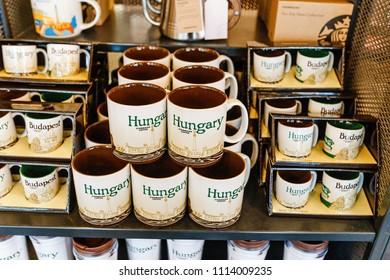 14 MAY 2018, BUDAPEST, HUNGARY: Tourist souvenir mugs for sale