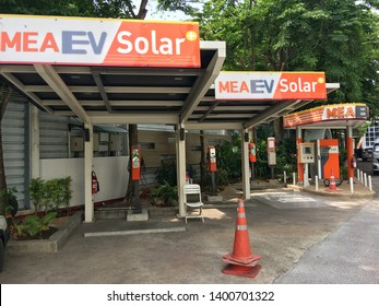14 May 2019 , Electric vehical (EV) charging station with plug of power cable for EV car , technology EV at  Mea headquarter Chidlom ,Bangkoko, Thailand.