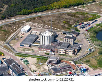 14 May 2019, Petten, Holland. Aerial view of nuclear reactor of ECN PETTEN.   NRG (Nuclear Research and Consultancy Group) uses radio isotopes to produce medicines against cancer and other diseases