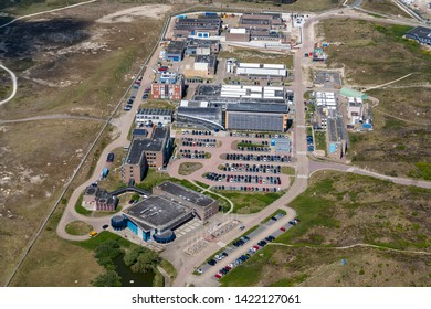 14 May 2019, Petten, Holland. Aerial view of modern office buildings at ECN PETTEN, a nuclear research station in the dunes.  NRG (Nuclear Research and Consultancy Group) produces medicines.