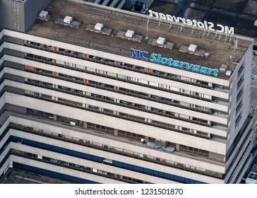 14 November 2018, Amsterdam, Holland. Aerial view of logo at hospital MC Slotervaart. The medical center filed for bankruptcy in the autumn of 2018