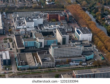 14 November 2018, Amsterdam, Holland. Aerial view of hospital Antoni van Leeuwenhoek Ziekenhuis. A famous institute for cancer research and treatment.