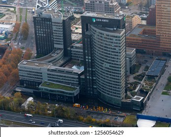 14 November 2018, Amsterdam, Holland. Aerial view of headquarters of ABN AMRO Bank at the Zuidas in Amsterdam, next to highway A10.