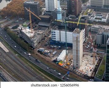 14 November 2018, Amsterdam, Holland. Aerial view of construction site of the new headquarters of European Medicines Agency EMA at the Zuidas in Amsterdam, next to highway A10.