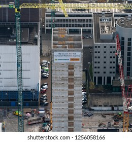 14 November 2018, Amsterdam, Holland. Aerial view of construction site of the new headquarters of European Medicines Agency EMA at the Zuidas in Amsterdam. Builders are Heijmans and Dura Vermeer.
