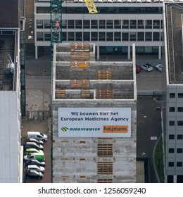 14 November 2018, Amsterdam, Holland. Aerial view of top floor of  European Medicines Agency EMA at the Zuidas in Amsterdam. Builders are Heijmans and Dura Vermeer and have reached the highest point.