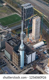 14 November 2018, Amsterdam, Holland. Aerial view of the tower Alticom Datacenter and construction site of the new headquarters of European Medicines Agency EMA at the Zuidas.