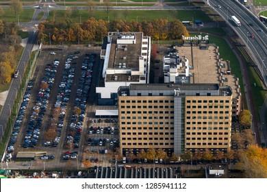 14 November 2018, Amsterdam, Holland. Aerial view of headquarter of Dutch Telegraaf Media Groep