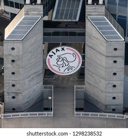 14 November 2018, Amsterdam, Holland. Aerial view of AJAX logo at Johan Cruijff Arena in the Bijlmermeer. The soccer stadium is home of the Ajax football team and will host games during the Euro 2020.