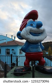 JÚZCAR-MALAGA/SPAIN, 14 NOVEMBER 2018: figures of Smurfs in Júzcar, blue town called the Smurf village