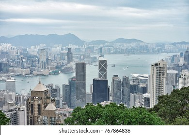 14 October 2017 at the Victoria Peak, it is the highest mountain on Hong Kong Island, This place is the most popular tourist attraction in Hong Kong to enjoy the skyscapercity.