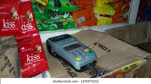 14 September 2018, Lagos Nigeria: A POS device used for receiving payments at a local retail store in Ketu, Alapere, Lagos.