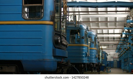 14.01.2016 - Kyiv, Ukraine. Subway train depot. Depot and workshop for subway trains. Manufacture of underground transport.