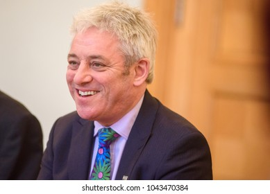 14.02.2018. RIGA,LATVIA. John Bercow, Member of Parliament for Buckingham and the Speaker of the British House of Commons meets with Prime minister of Republic of Latvia Maris Kucinskis. Government