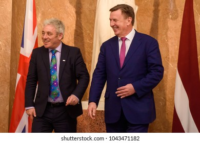 14.02.2018. RIGA,LATVIA. John Bercow, Member of Parliament for Buckingham and the Speaker of the British House of Commons meets with Prime minister of Republic of Latvia Maris Kucinskis. Governmen