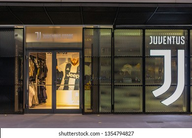 14/02/2019 Turin, Italay. Entrance to Juventus Store  located in Juventus Stadium, Turin ,Italy .