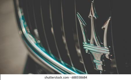 14/08/2017 Chisinau, Republic of Moldova . Maserati sign, front bumper view, photo taken at a car expo.