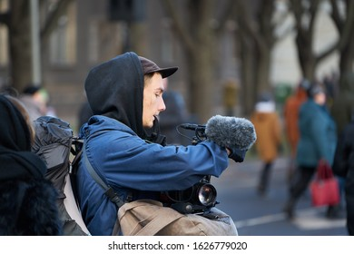 14-08-2018 Riga, Latvia. Man with camera and microphone in his hands