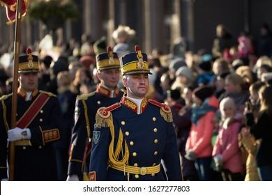 14-08-2018 Riga, Latvia, Soldier in ceremonial uniform at a military parade.
