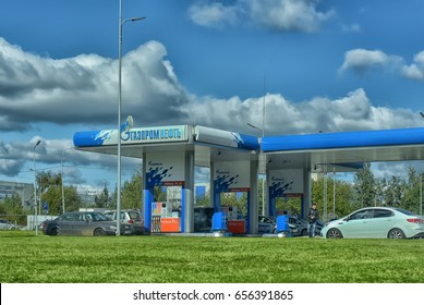 """14.09.2016, Russia, St. Petersburg , Gas stations """"Gazpromneft"""". Design elements of corporate identity"""