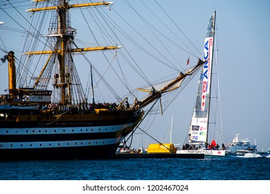 14.10.2018 Trieste, Italy. Barcolana, international traditional regatta. Arrival of Spirit of Portopiccolo, the winner of contest.
