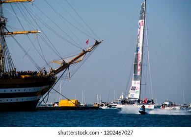 14.10.2018 Trieste, Italy. Barcolana, international traditional regatta. Arrival of Spirit of Portopiccolo the winner of contest