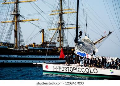 14.10.2018 Trieste, Italy. Barcolana, international traditional regatta Spirit of Portopiccolo the winner of contest