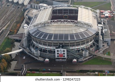 14-11-2018, Amsterdam, Netherlands. Aerial view of Johan Cruijff Arena with portrait.  The soccer stadium is home of Ajax football team and will host games during the Euro 2020 Europena Championships.
