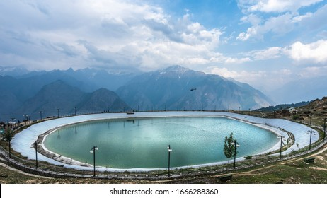 14-June,2019 : Man made artificial lake at highest altitude in Auli a winter sport location in Chamoli district of Uttarakhand State, India.